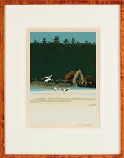 Sale 9023H - Lot 19 - M UCHIDA Geese , woodblock, frame size 59x 46cm Signed lower right.  Provenance purchased from Peter Elliott
