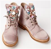 Sale 9090F - Lot 188 - A PAIR OF ALMA EN PENNA BOOTS, in thistle purple with handstictched gems, beads and sequins to tongue, in box almost as new, Size EU...