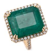 Sale 9066A - Lot 43 - AN EMERALD AND DIAMOND COCKTAIL RING; split claw set in 18ct gold with an emerald cut emerald of approx. 16ct to surround and upswep...