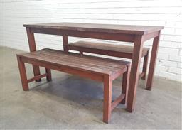 Sale 9102 - Lot 1279 - Outdoor three piece dining setting - pair of three seaters and dining table - by Gallery Warehouse (h75 x w150 x d70cm)