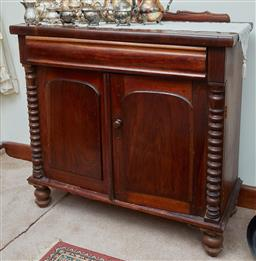 Sale 9103M - Lot 544 - Cedar chiffonier single drawer over two panel doors with bobbin turned columns, raised over turned feet (does not include backing) H...