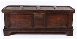 Sale 9135H - Lot 78 - A 18th century carved and panelled walnut trunk with later restorations.  1.9M Width, 70cm Height, 67cm Depth