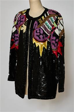 Sale 9095F - Lot 56 - A vintage Jennifer sequined and beaded three quarter fancy jacket, size M.