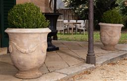 Sale 9190W - Lot 4 - A pair of Anduze style terracotta planters with mature buxus. Height 68 x diameter 62cm