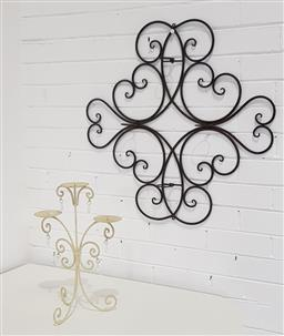 Sale 9215 - Lot 1567 - Metal wall mount candleholder & another smaller example (d73cm)