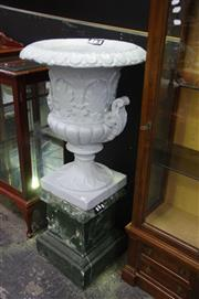 Sale 8129 - Lot 1007 - Large Painted Urn On Base