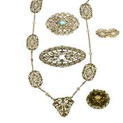 Sale 8134B - Lot 333 - A GROUP OF PASTE SET JEWELLERY; including Edwardian necklace and vintage brooches.