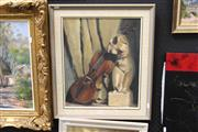 Sale 8332 - Lot 2011 - Heather Timbs - Still Life, Violin and Sculptural Figure, oil on board, 44.5 x 37cm, signed lower right