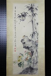Sale 8393 - Lot 77 - Chinese Scroll; Flower, Grasshopper & Cicada Depiction on Pale Yellow Mounting; Signed