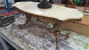 Sale 8404 - Lot 1042 - Italian Alabaster & Brass Coffee Table