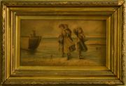 Sale 8418A - Lot 59 - A Day by the Sea, print, in a gilt frame, total H 29 x 43cm