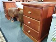 Sale 8550 - Lot 1417 - Pair of Timber Bedsides with Three Drawers