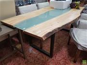 Sale 8637 - Lot 1041 - Timber Top Dining Table with Central Glass Insert on Metal Base