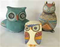 Sale 8725A - Lot 24 - Three mid century modern ceramic stylised porcelain owls in vibrant colourways, one signed pina, another indistinctly signed. Talle...