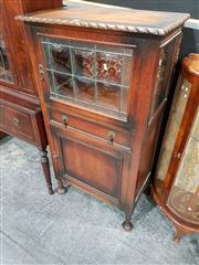 Sale 8740 - Lot 1006 - Timber Drinks Cabinet with Bubble Glass Front