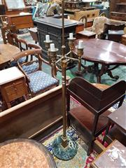 Sale 8774 - Lot 1044 - Empire Style Gilt Brass Standard Lamp, with four torch like branches, on turned shaft & with appliques & green marble base (lacking...