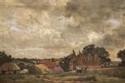 Sale 8881 - Lot 590 - German School (Early C20th) - Country Scene with Cottages, 1911 47 x 72.5 cm