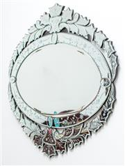 Sale 9058H - Lot 1 - A Venetian etched and bevelled mirror with foliate design, Height 90cm x Width 95cm
