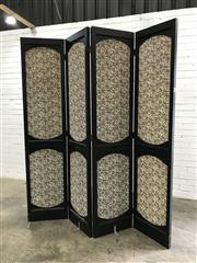 Sale 9071 - Lot 1079 - Timber 4 Panel Room Divider with Fabric Panels (h:203 x w:180cm)