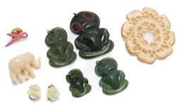 Sale 9099 - Lot 156 - A group lot of jewellery comprising greenstone tiki, ivory elephant brooch, plastic elephant and earrings.