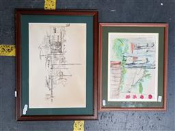 Sale 9127 - Lot 2082 - Penny Meagher (two works) View from Holly Street Window & White Bay, 1990s ink and watercolour, ink on paper, frame: 32 x 41 cm,...