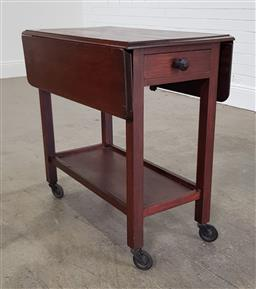 Sale 9210 - Lot 1024 - Early timber drop side trolley - crack top & repaired leaf (h:76 w:76 d:44cm)