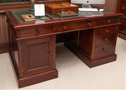 Sale 9260M - Lot 51 - Twin pedestal Mahogany desk, the tooled leather top over three drawers and two pedestals consisting of a cupboard door and three dra...