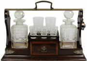 Sale 8065 - Lot 14 - Edwardian Oak & Silver Plated Double Tantalus