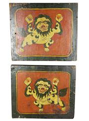 Sale 8123 - Lot 80 - Tibetan Pair of Painted Mounted Panels with Lions