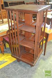 Sale 8255 - Lot 1086 - Late Victorian Walnut Revolving Bookcase, of three tiers (one slat cut but extant)