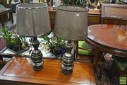 Sale 8251 - Lot 1019 - Pair Metal Table Lamps with gunmetal finish (5784)
