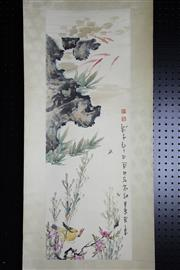 Sale 8393 - Lot 84 - Chinese Scroll; Yellow Bird Hunting a Cicada Depiction on Pale Yellow Mounting; Signed