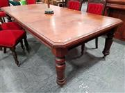 Sale 8792 - Lot 1008 - Late 19th Century Cedar Extension Dining Table, with three half leaves and cantered corners and ring turned legs, with winding mecha...