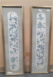 Sale 9065 - Lot 2083 - A Pair of Cross Stitch works depicting Song Birds, frame: 62 x 18 cm each -