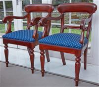 Sale 9090H - Lot 62 - A pair of mahogany bar back carver dining chairs with blue upholstery. Height of back 95cm