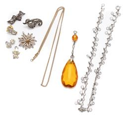 Sale 9099 - Lot 157 - A group lot of jewellery comprising marcasite brooches, earrings, citrine pendant, etc