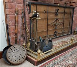 Sale 9103M - Lot 546 - A collection of fireplace accessories including spark guard Width 210cm, tools, scuttle etc