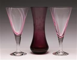 Sale 9119 - Lot 154 - A pair of Caithness art wine glass together with a signed art glass vase (H:18cm)