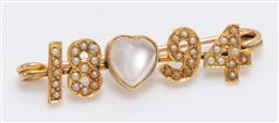 Sale 9180E - Lot 15 - A 14ct gold 1894 brooch with seed pearl applications and moonstone insert, Length 4.2cm, combined 3.5g