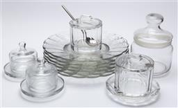 Sale 9099 - Lot 211 - A collection of sundry glass serving wares including dishes and lidded jars
