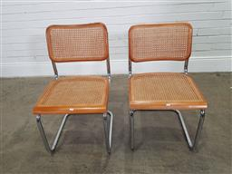 Sale 9174 - Lot 1315 - Pair of chrome & cane chairs