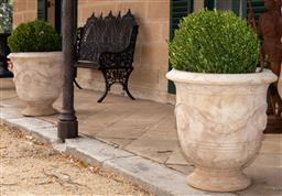 Sale 9190W - Lot 5 - A pair of Anduze style terracotta planters with mature buxus. Height 68 x diameter 62cm