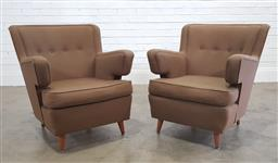 Sale 9188 - Lot 1102 - Pair of Parker Knoll lounge chairs with brown fabric upholstery (h:80 x w:71 x d:57cm)