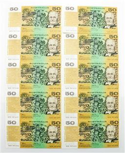 Sale 9192 - Lot 18 - A Good Set Of Ten $50 Australian Notes, Uncirculated In Sequential Numbers (WZB 501691 To WZB 501700)