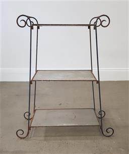 Sale 9215 - Lot 1549 - Vintage metal stand with glass shelves (h88 x w66 x d32cm)