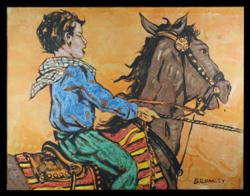 Sale 7923 - Lot 574 - David Bromley - Boy on Horse 90 x 120cm