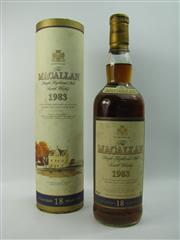 Sale 8290 - Lot 405 - 1x 1983 The Macallan Sherry Oak Cask 18YO Single Highland Malt Scotch Whisky - in canister