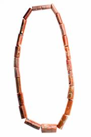 Sale 8400 - Lot 314 - A LARGE CORAL NECKLACE; 23 cylindrical polished coral beads, length 90cm.