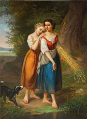 Sale 8449A - Lot 599 - C19th English School - Two Maidens 41 x 55cm
