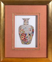 Sale 8562A - Lot 133 - A pair of decorative embroidered silk depictions of vases with flowers and fanciful birds, in gilt box frame, each total H 65 x W 55cm
